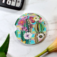 Colorful Floral Cactus Sandstone Cup Holder Coaster