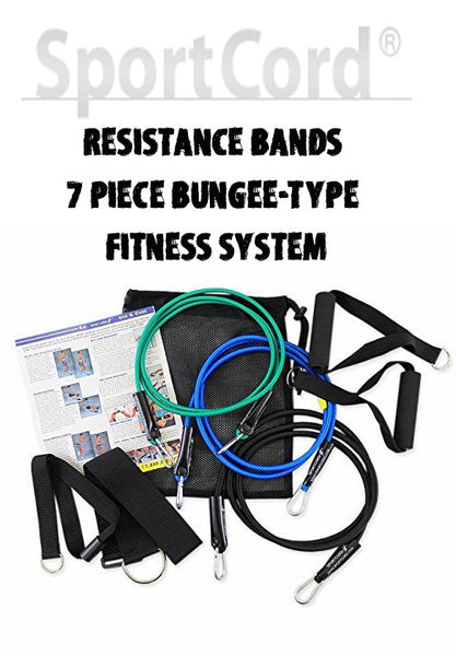 Resistance Bands - 7 Piece Bungee-Type Fitness System by SportCord