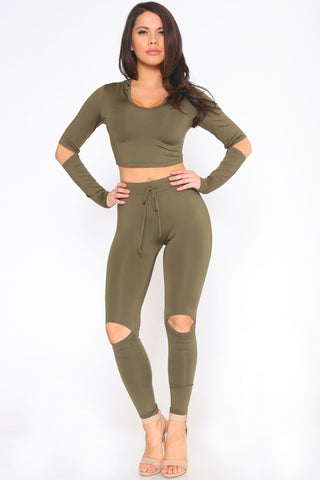 YONCE CROP TOP AND LEGGINGS SET - Glam Envy - 1