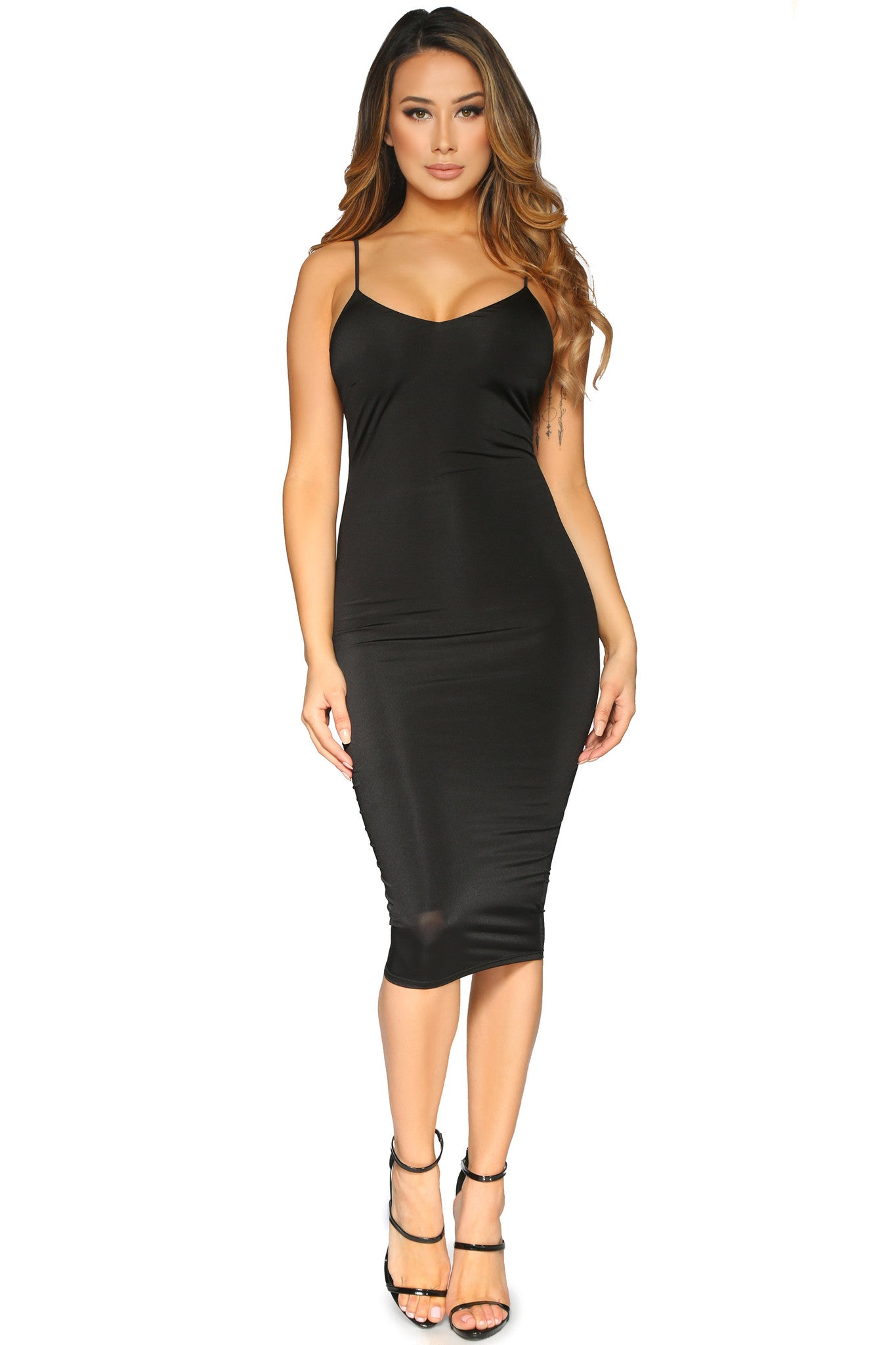 PATRICIA DRESS BLACK GLAM ENVY FRONT PROFILE