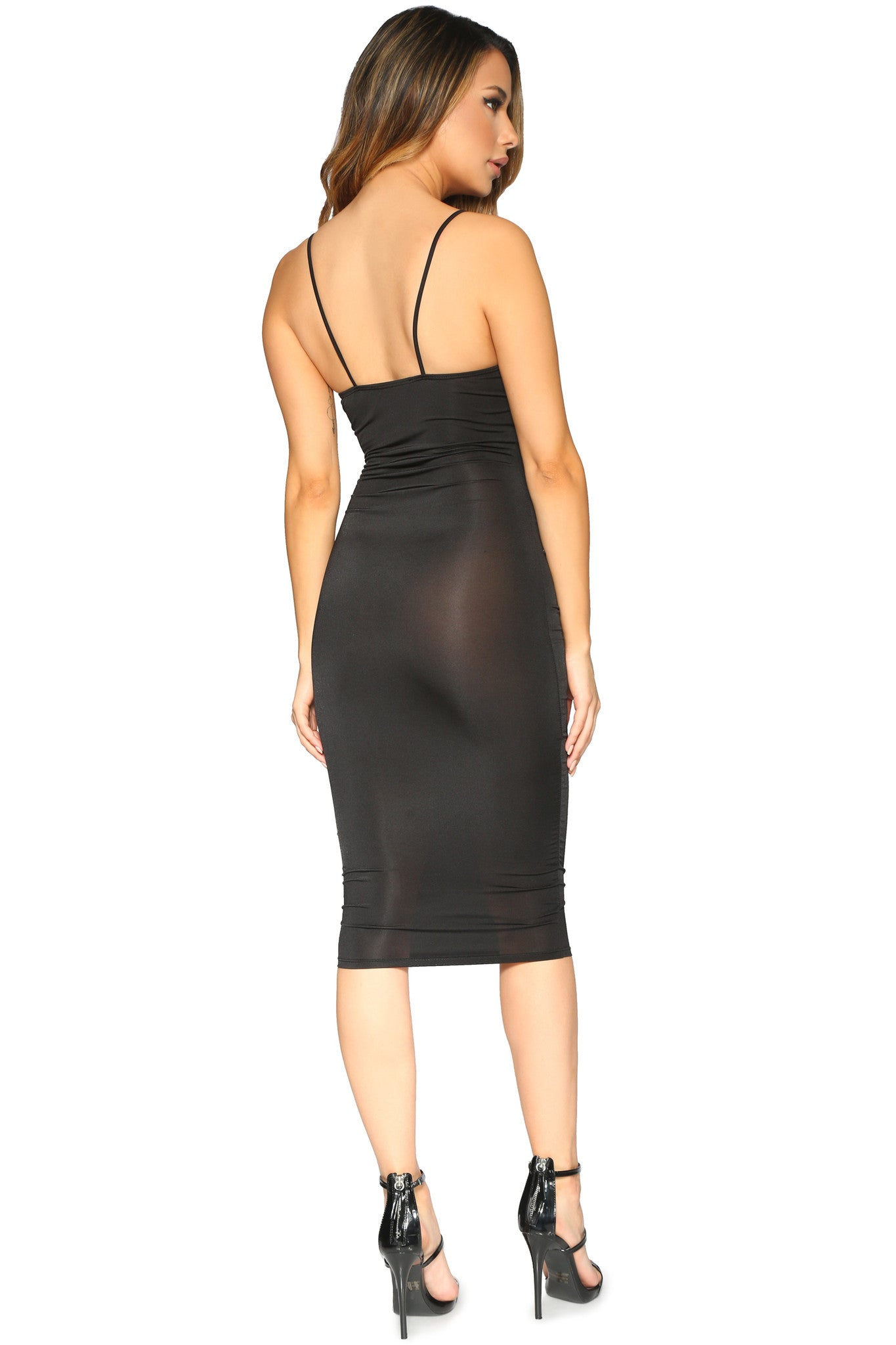 PATRICIA DRESS BLACK GLAM ENVY BACK PROFILE