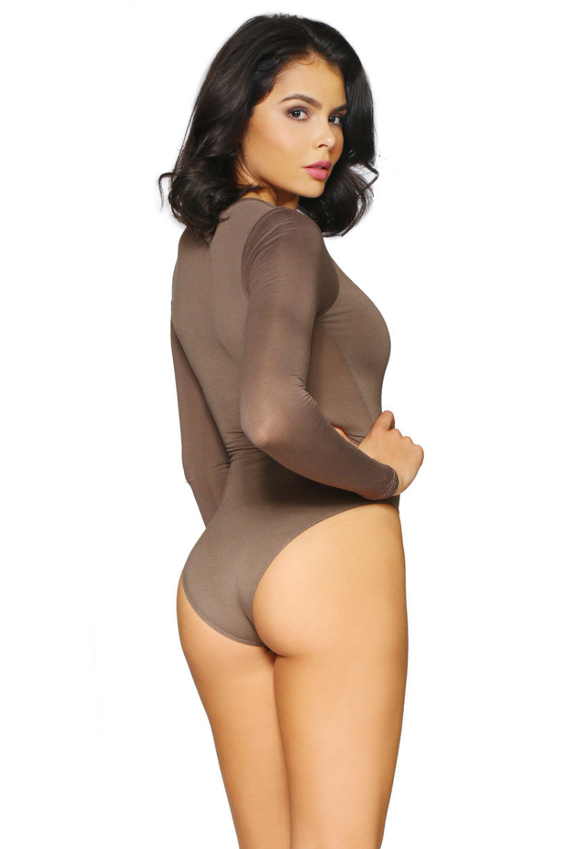 JANESSA BODYSUIT MOCHA GLAM ENVY BACK PROFILE