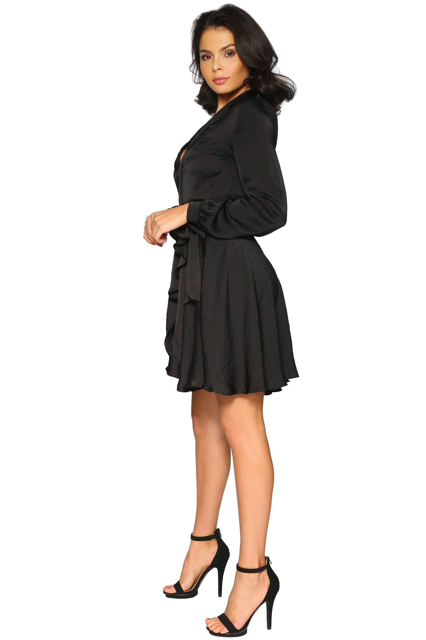 MARI DRESS BLACK GLAM ENVY SIDE PROFILE