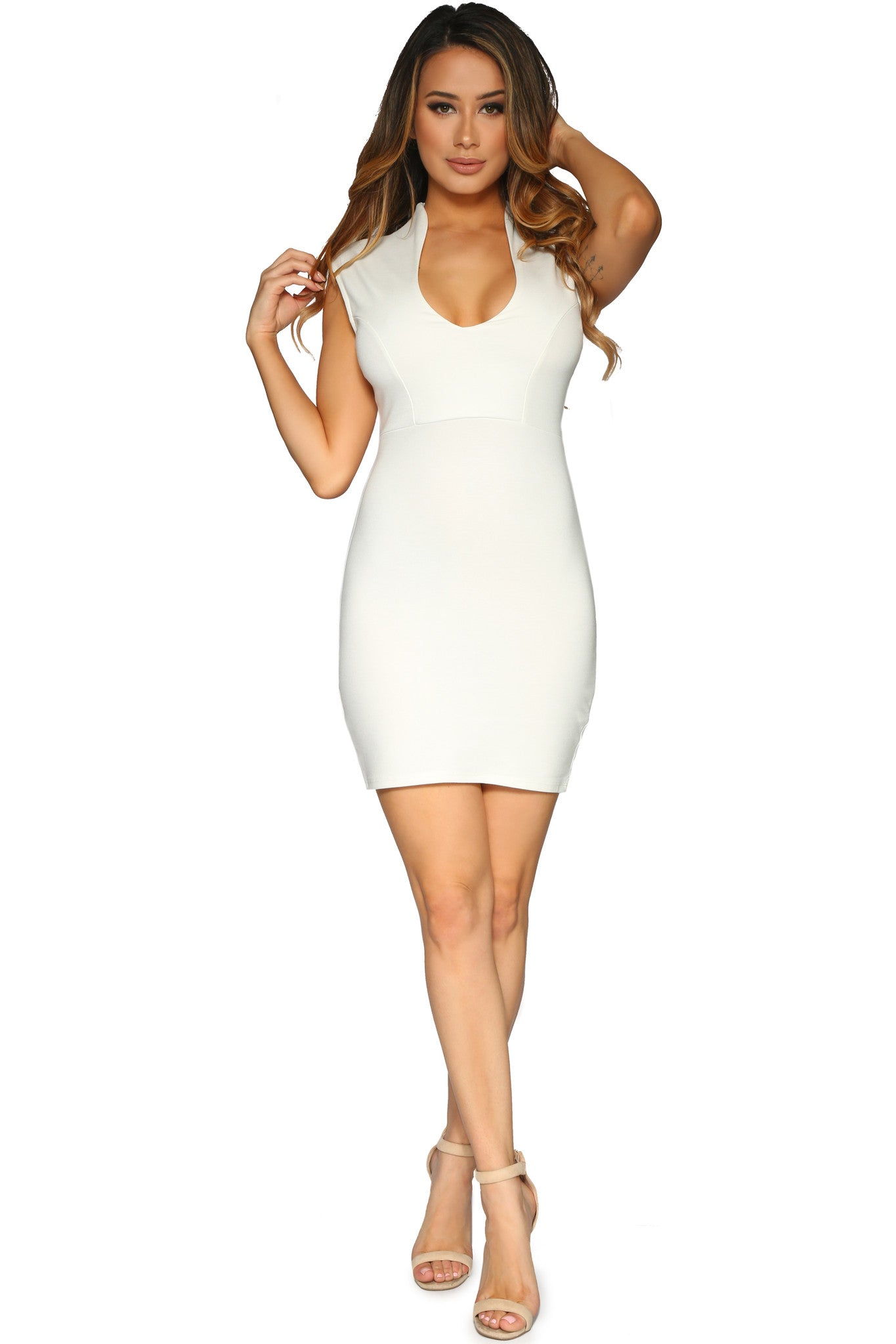 AINSLEY MINI DRESS OFF WHITE GLAM ENVY FRONT PROFILE