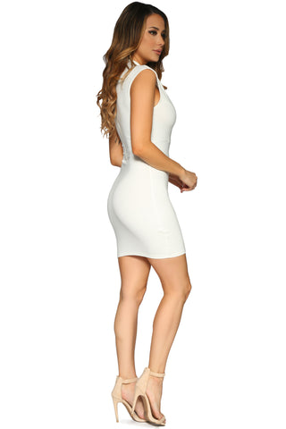 AINSLEY MINI DRESS OFF WHITE GLAM ENVY SIDE PROFILE