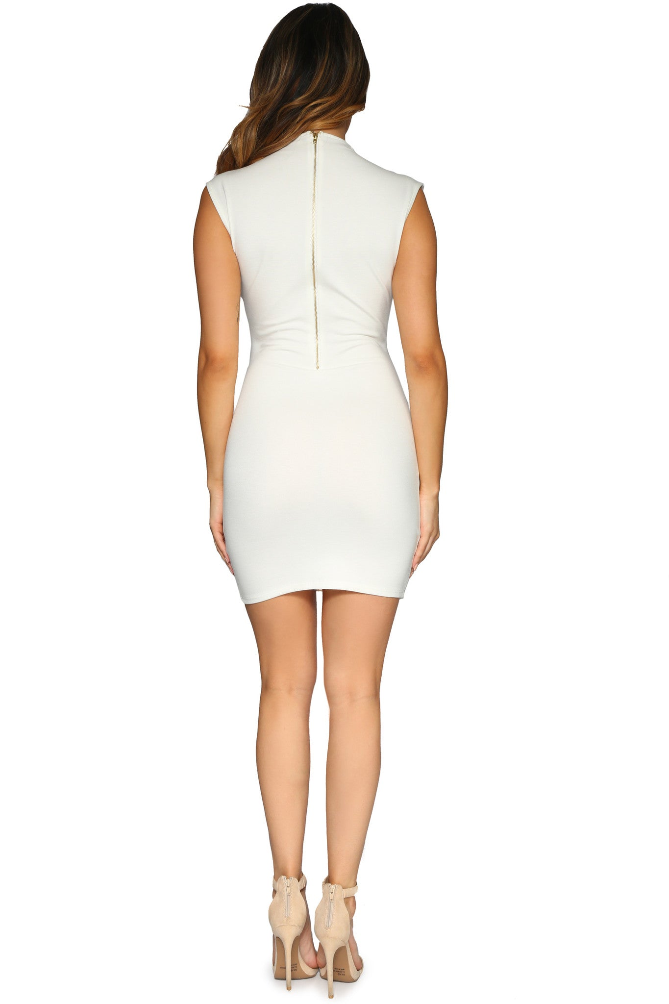 AINSLEY MINI DRESS OFF WHITE GLAM ENVY BACK PROFILE