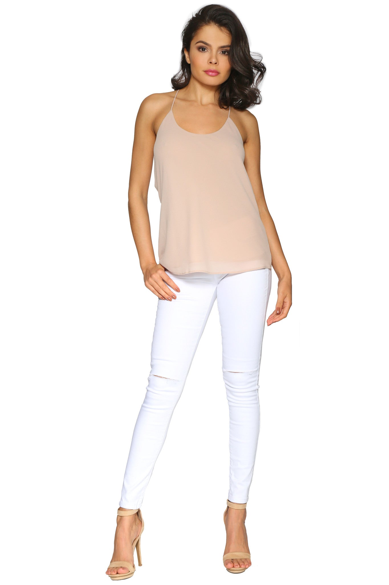 KATE CAMISOLE TAUPE GLAM ENVY FRONT PROFILE
