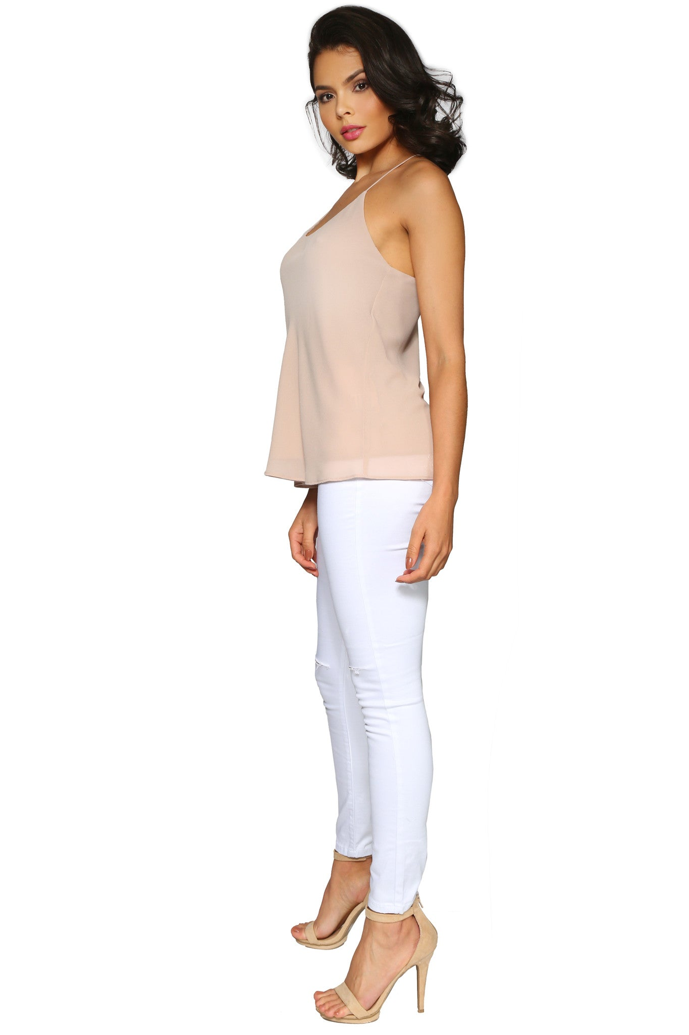 KATE CAMISOLE TAUPE GLAM ENVY SIDE PROFILE