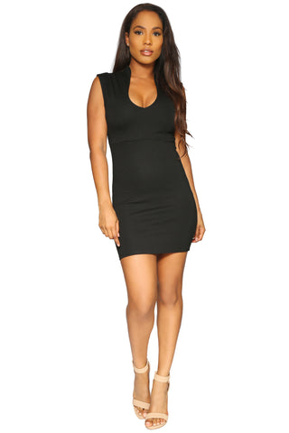AINSLEY MINI DRESS BLACK GLAM ENVY FRONT PROFILE