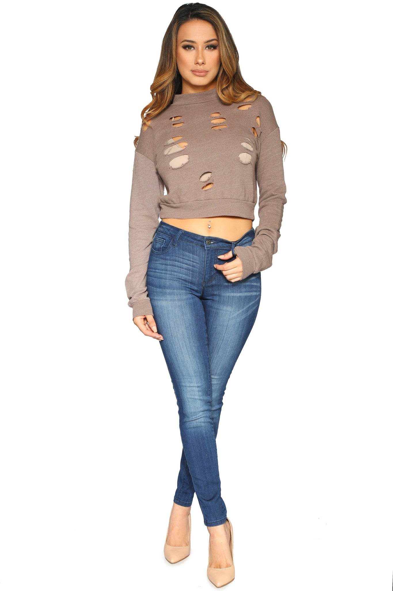 DESIE CROP SWEATER MOCHA GLAM ENVY FRONT PROFILE