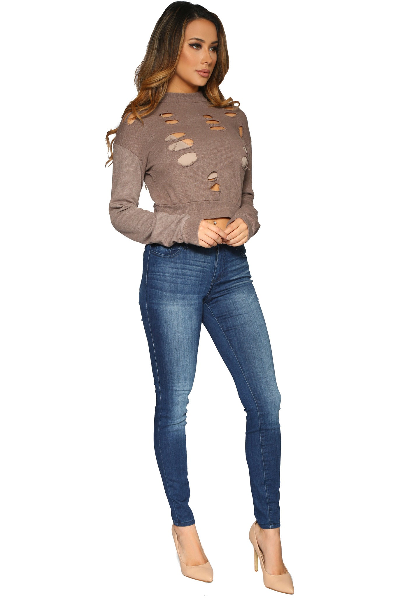DESIE CROP SWEATER MOCHA GLAM ENVY SIDE PROFILE