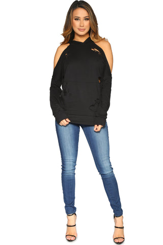 DIANDRA HOODIE BLACK GLAM ENVY FRONT1 PROFILE