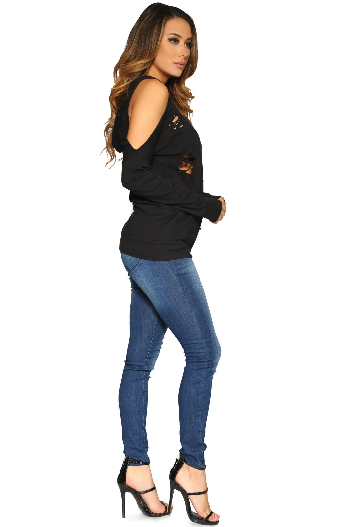 DIANDRA HOODIE BLACK GLAM ENVY SIDE PROFILE
