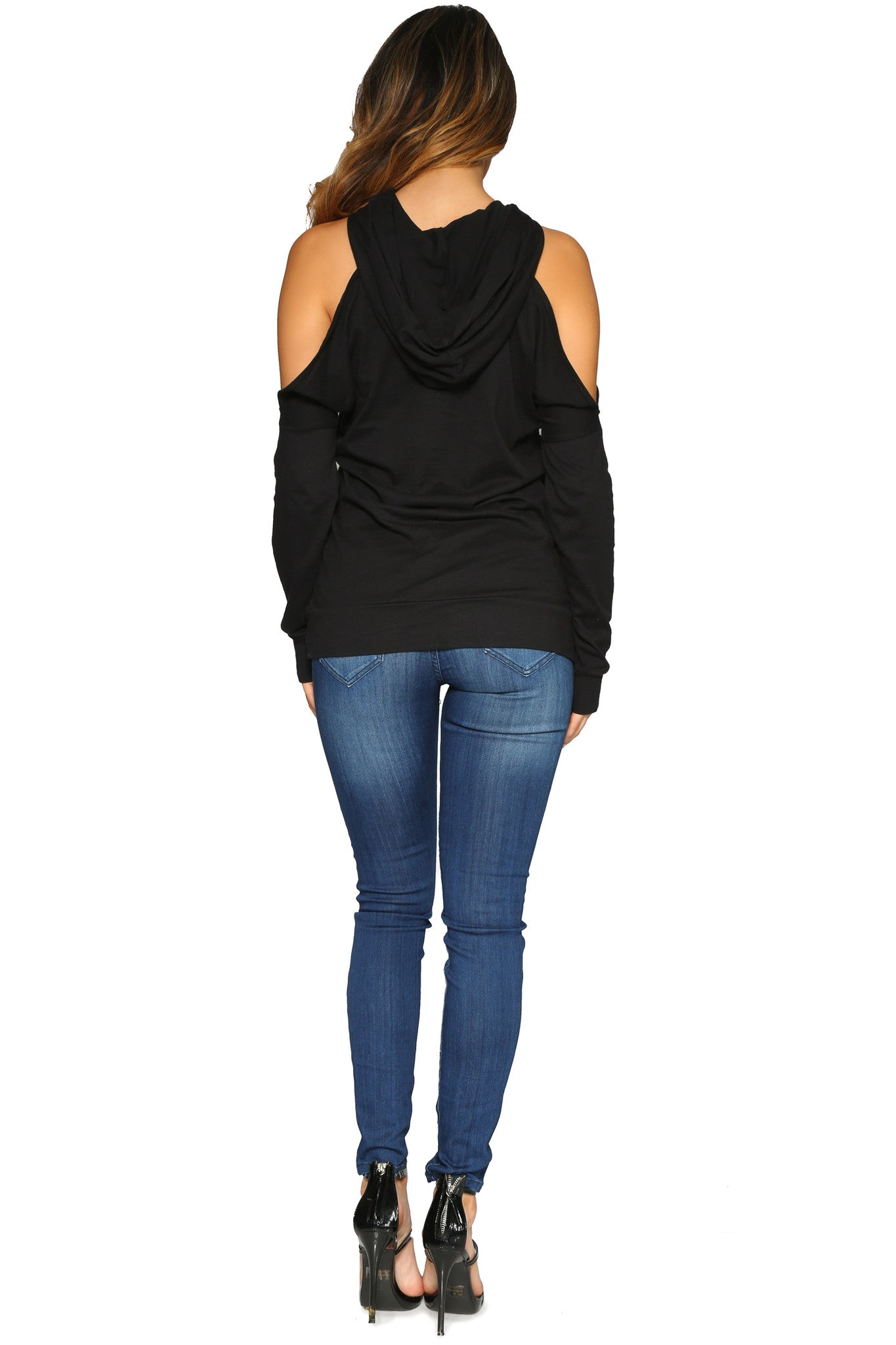 DIANDRA HOODIE BLACK GLAM ENVY BACK PROFILE