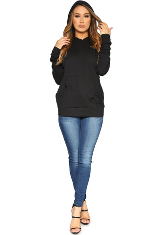 DIANDRA HOODIE BLACK GLAM ENVY FRONT2 PROFILE