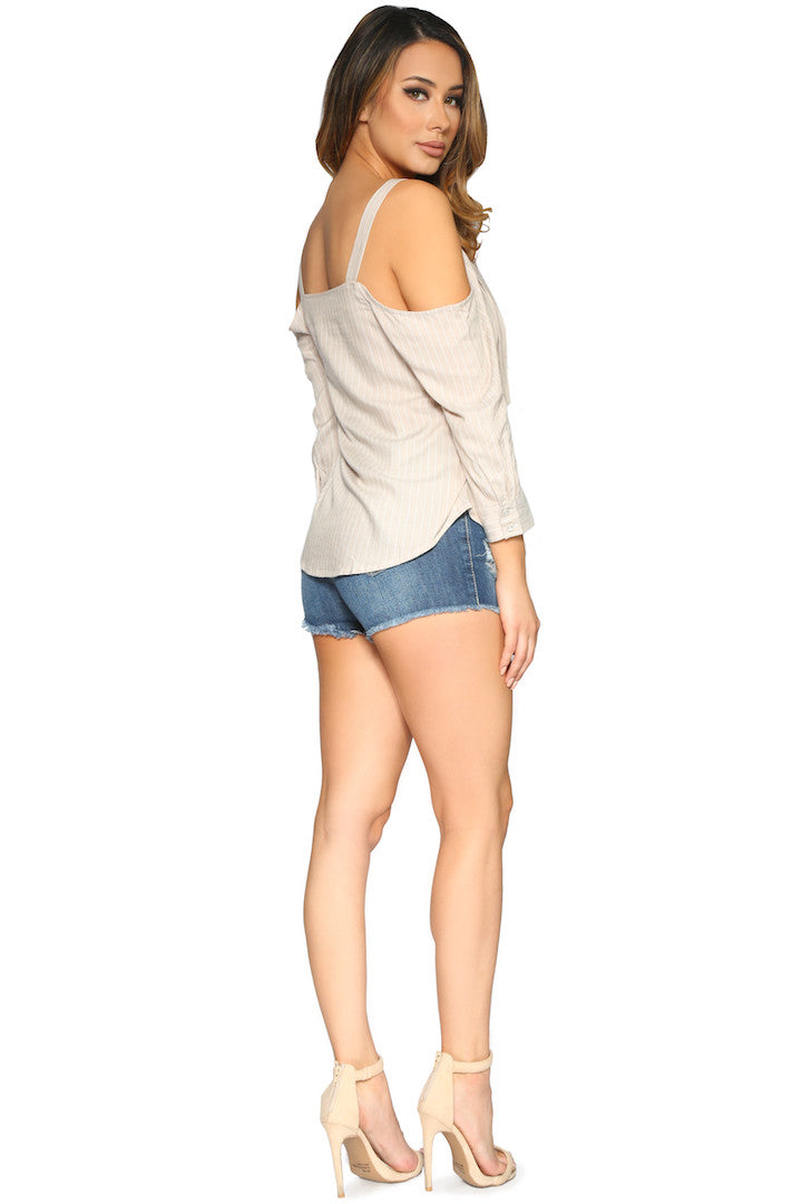 IZZY BLOUSE TAUPE GLAM ENVY SIDE PROFILE