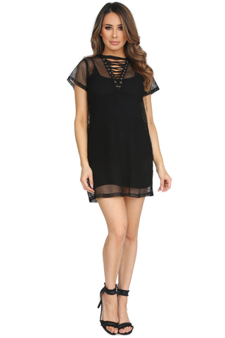 LACE ME UP T-SHIRT DRESS