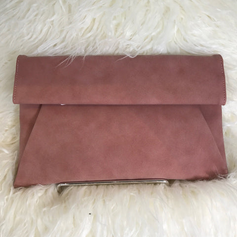 MAUVE ROLLED FLAP CLUTCH - Glam Envy - 1