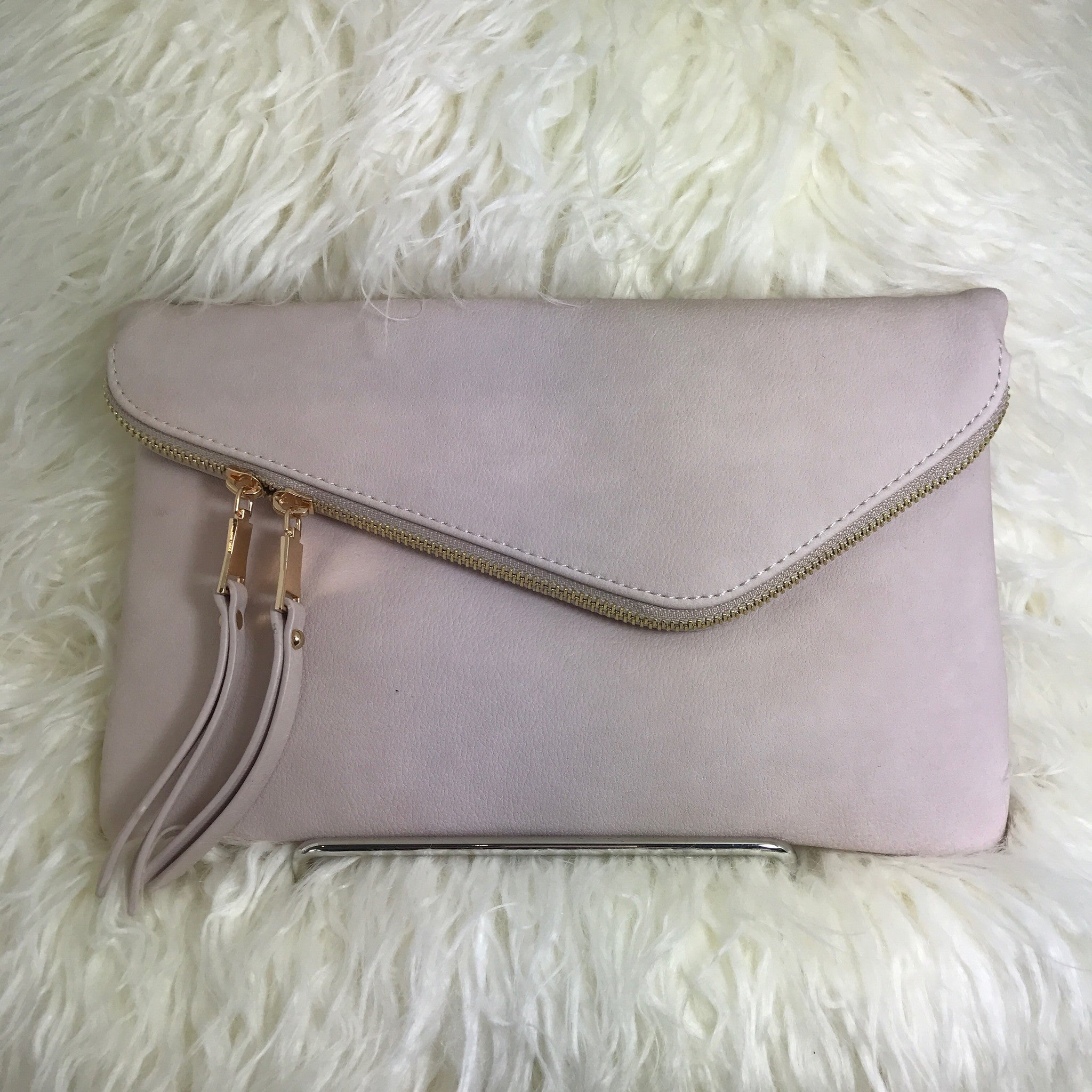 BLUSH ASYMMETRIC FLAP CLUTCH - Glam Envy