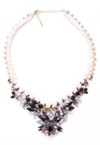 Black Rhinestone Pearl Necklace