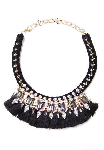 Black Tassel Statement Necklace