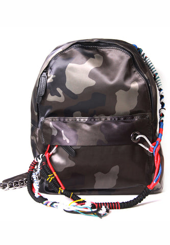 Camouflage Leather Backpack With Cords