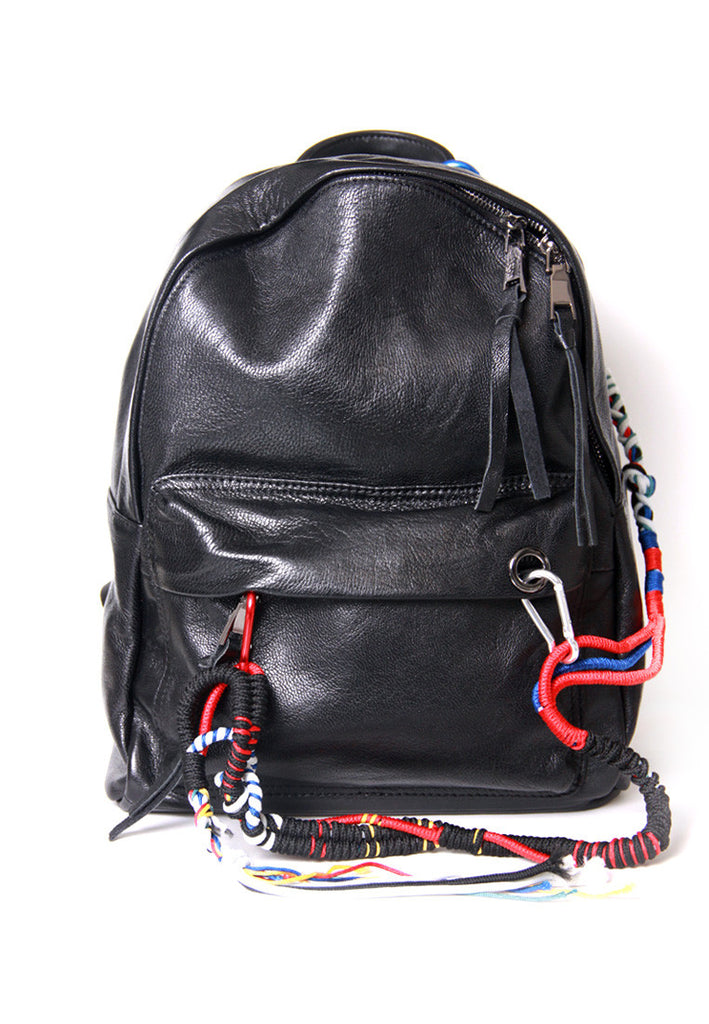 Black Leather Backpack With Cords