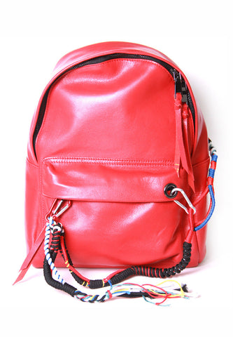 Red Leather Backpack With Cords