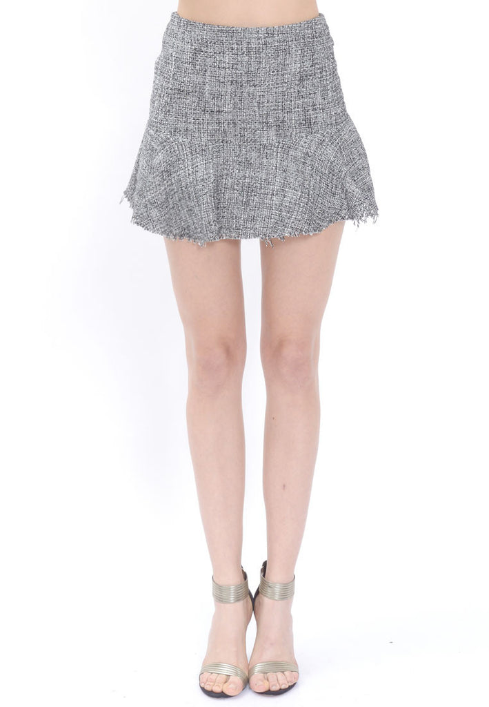 Grey Tweed Flared Skirt