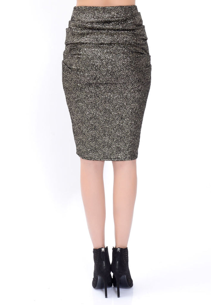 Golden Ruffle Pencil Skirt
