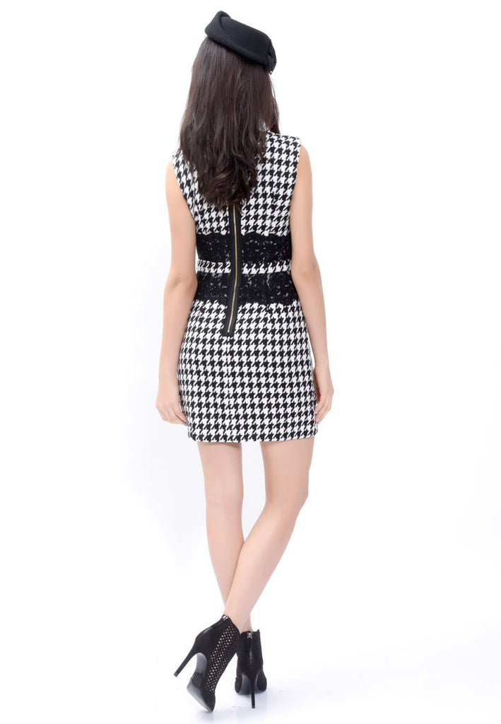 Beaded Houndstooth Dress