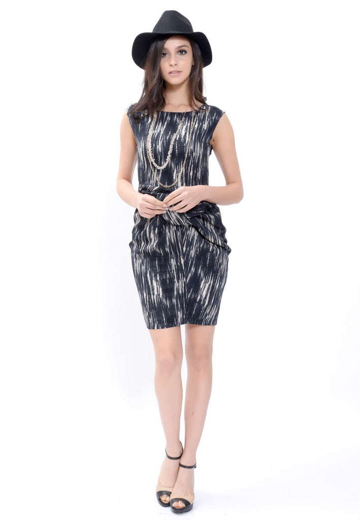 Navy Printed Draped Dress