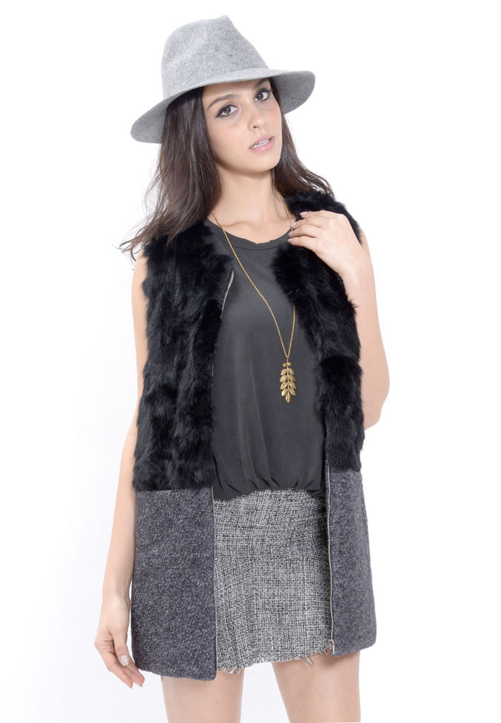 Black Rabbit Fur Vest Coat