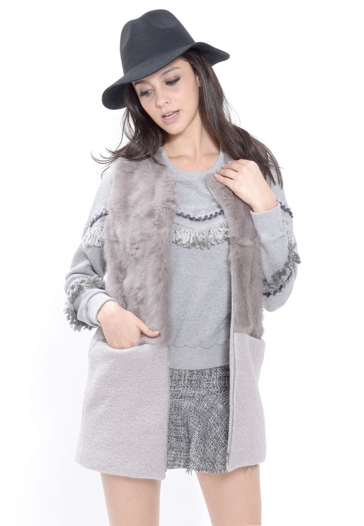 Taupe Rabbit Fur Vest Coat