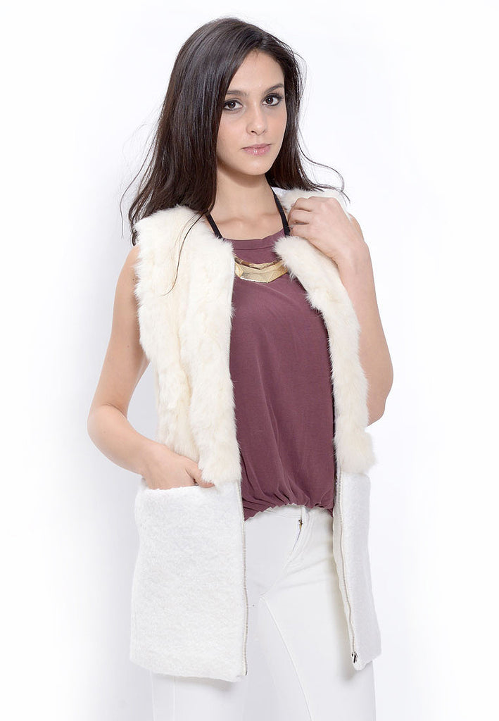 Cream Rabbit Fur Vest Coat