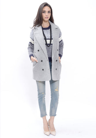 Grey Wool Blended Vest Coat