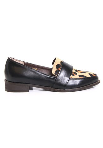 Leopard Calf Hair Leatherette Loafers