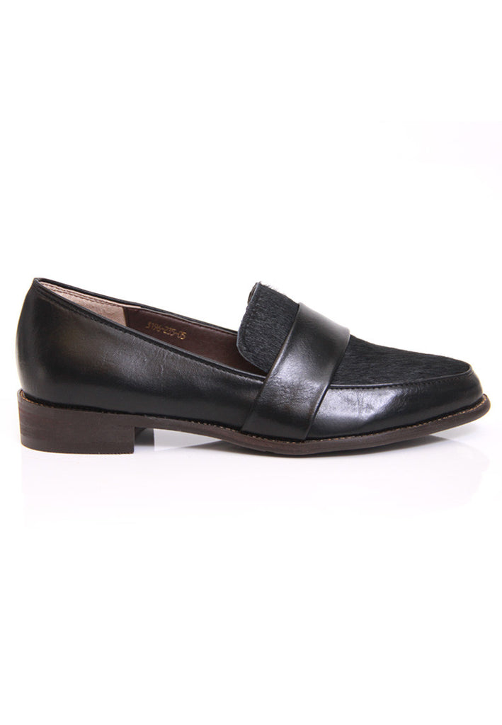 Black Calf Hair Leatherette Loafers