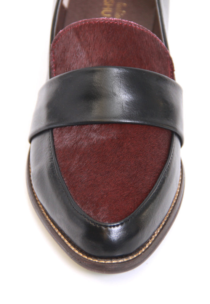 Burgundy Calf Hair Leatherette Loafers