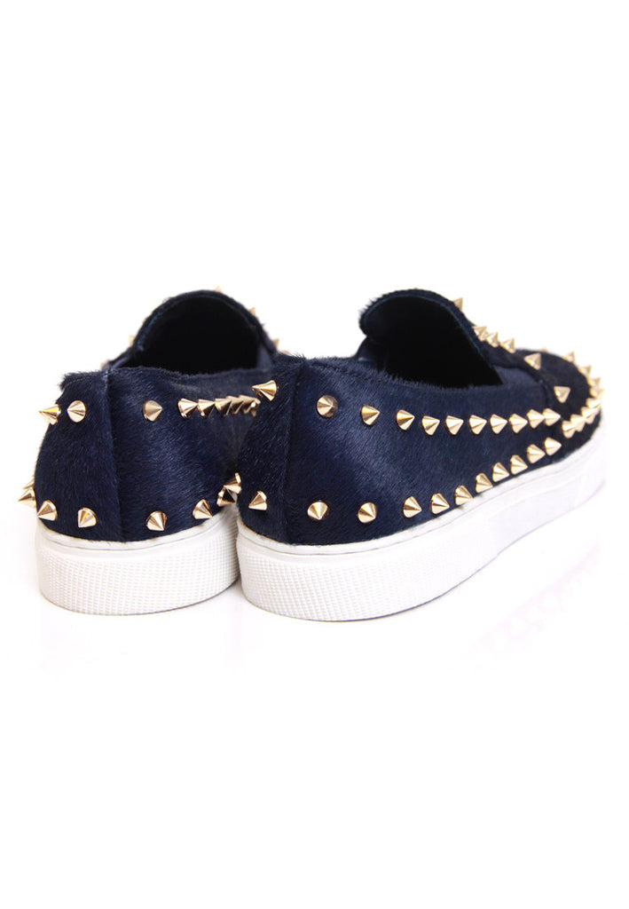 Navy Calf Hair Studded Sneakers