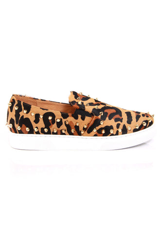 Leopard Calf Hair Studded Sneakers