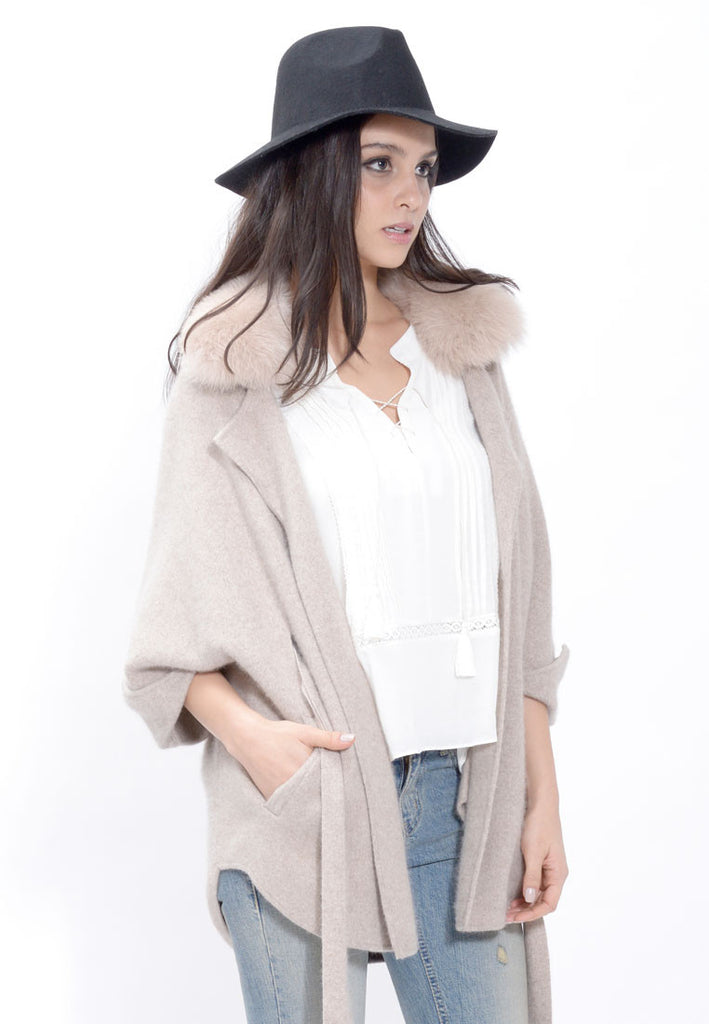 Taupe Fur Collar Knit Cardigan