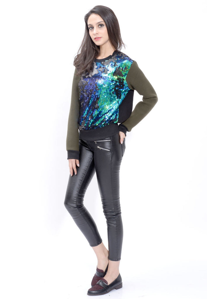 Blue-Green Sequin Pullover
