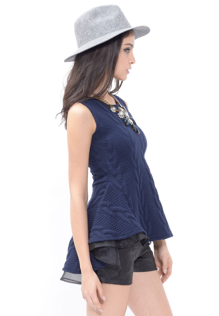 Navy Textured Peplum Vest Top