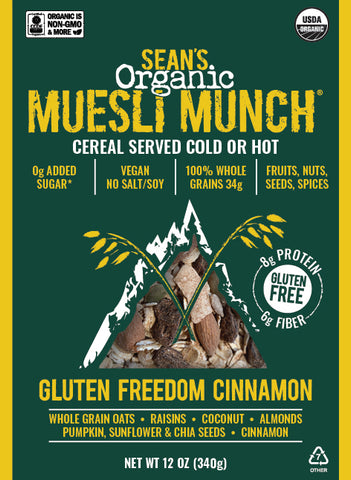 Organic Muesli, Gluten Free Muesli, Vegan Muesli, No Added Sugar Muesli, 100% Whole Grains, Fruits, Nuts, Seeds & Spices. Made on the Central Coast of California in San Luis Obispo. High Fiber Cereal served cold like granola or hot like oatmeal. No Salt. No Soy. USDA Organic. CCOF Organic. Non GMO.