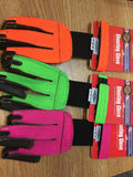 Neet Youth Shooting Gloves. Neon Orange, Pink and Green