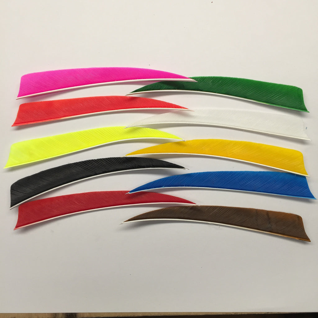 "5"" solid colored shield cut feathers. Pink, Orange, Flo Yellow, Black, Red, Green, White, Yellow, Blue and Brown."