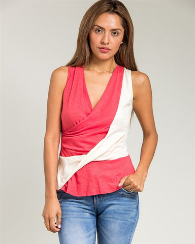 The Coral Twist Swirl Tank Top is made of 100% cotton.