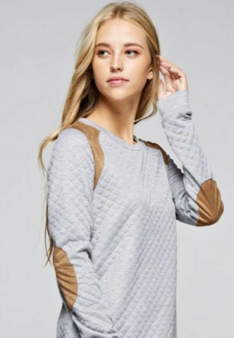 Quilted Grey Sweatshirt