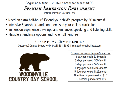 Spanish Immersion - Monthly Tuition